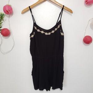FOREVER 21 black embroidered floral romper L